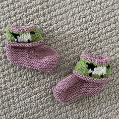Pink sheep  booties - Hand knitted in Pure Wool