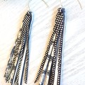 Long Stacked Tassel, Genuine Leather Earrings, Silver/Black