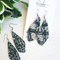 Crocodile Print, Genuine Leather Dangle Earrings, Silver