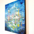 'Gather as One' original abstract contemporary acrylic painting