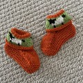 Orange  sheep  booties - Hand knitted in Pure Wool