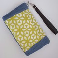 Small Denim and Lime Print Pocket Purse