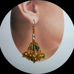 Cloisonné enamel and gold filigree earrings. FREE SHIPPING