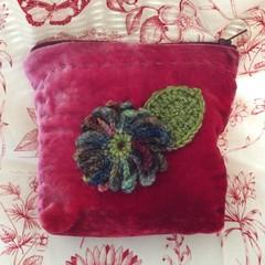 Deep raspberry hand dyed velvet zip purse with crochet dahlia
