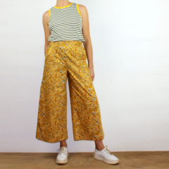 Mustard Flower Bomb Cropped Wide Leg Cotton Pants