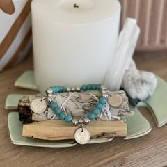 Australian Threepence Turquoise Beaded Bracelet
