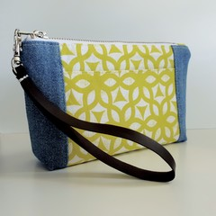 Small Denim and Lime Print Pocket Purse