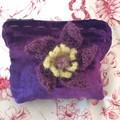Lush hand dyed deep purple velvet zip purse with crochet poppy