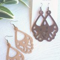 """Vintage/ Boho"" Genuine Leather Earrings, Tan, Chocolate"