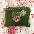 Olive green lovely soft velvet zip purse with crochet pansy