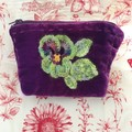 Plum and lime lovely soft velvet zip purse with crochet pansy