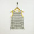 Olive Green and White Stripe Cotton Sleeveless T-shirt with Yellow Rib Trim
