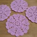Set of 4 Crochet Cotton Coasters - Pink Hearts