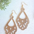 """Vintage Chandelier"" Genuine Leather Earrings, Gold"