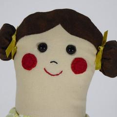 Bella Cloth Doll - Mini Heirloom Style Fabric Doll in Yellow