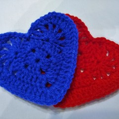 Set of 2 Crochet Coasters - Red & Blue Hearts