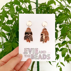 Rose Gold Mirror Acrylic Earrings Floral Dangles