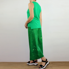 Emerald Green Cotton Sleeveless T-shirt