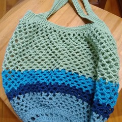 Crochet Mesh Market Bag - Ocean Deep