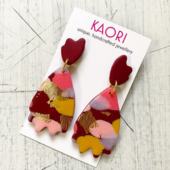 Statement earrings in polymer clay, pink Burgundy gold