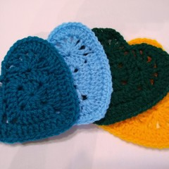 Set of 4 Crochet Coasters - Blue, Greens & Gold Hearts