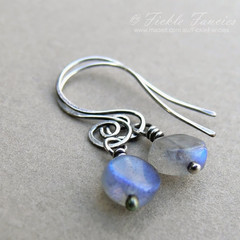 Spiralled Silver and Labradorite Earrings