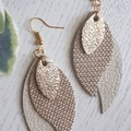 Stacked Leaf, Genuine Leather Earrings, Cream/Gold