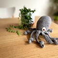 Grey linen blend octopus with soft rattle