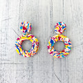 Polymer clay earrings, statement earrings in rainbow swirl
