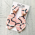 Statement earrings in polymer clay, pink white grey swirl