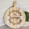 Personalised Round Light Acacia Wood Board - See more designs