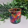 Button Pot - Rainbow - Resin & Buttons -