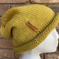 Knitted slouchy beanie mustard merino wool ladies or men slouchy