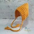 Vintage Mustard Newborn Crochet Baby Pixie Bonnet Beanie Hat Photo Prop
