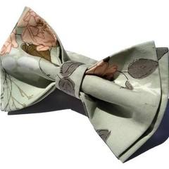 Men's bow tie, with pocket square optional/Romantic floral sage