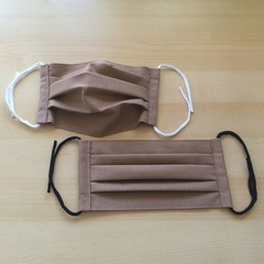 New Size!/Mocha/Size S,M,L/Pleated Face Mask with filter pocket &Nose Wire