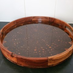 Acacia wood serving tray with crochet lace resin design