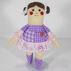 Dayna Cloth Doll - Mini Heirloom Style Fabric Doll in Purple Gingham