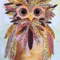 Tawny- original watercolour and collage painting