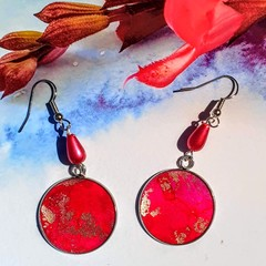 Unique Statement, Hand Painted, Resined Magenta Earrings