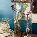 Purple Bead Garland with Silver Heart Charms