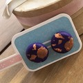 Rose gold + Purple funky earrings