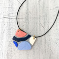 Handcrafted polymer clay adjustable necklace in on cotton cord