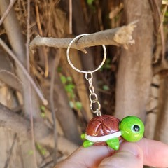 Polymer clay Turtle keyring / bag charm