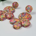 Bloomin' Flamingo Confetti Glitter Resin - MEGA Dangle earrings
