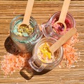 Soothing Bathsalts. 5oz Jar with cork lid, bamboo spoon.Natural salts, oils