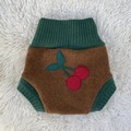Medium Cherries Wool Nappy Cover - extra short cuffs