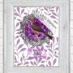 Gypsy Purple Vintage Floral Bird Custom Name Digital Download