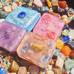 Rune crystal surprise organic vegan 5oz bar soap! Natural oils,  essential oils,