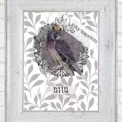 Allyse Haze Vintage Floral Owl Custom Name Digital Download